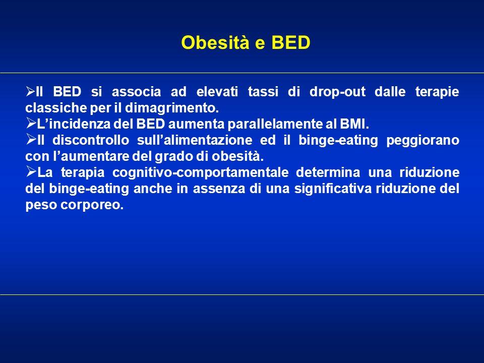 Obesità e BED Il BED si associa ad elevati tassi di drop-out dalle terapie classiche per il dimagrimento.