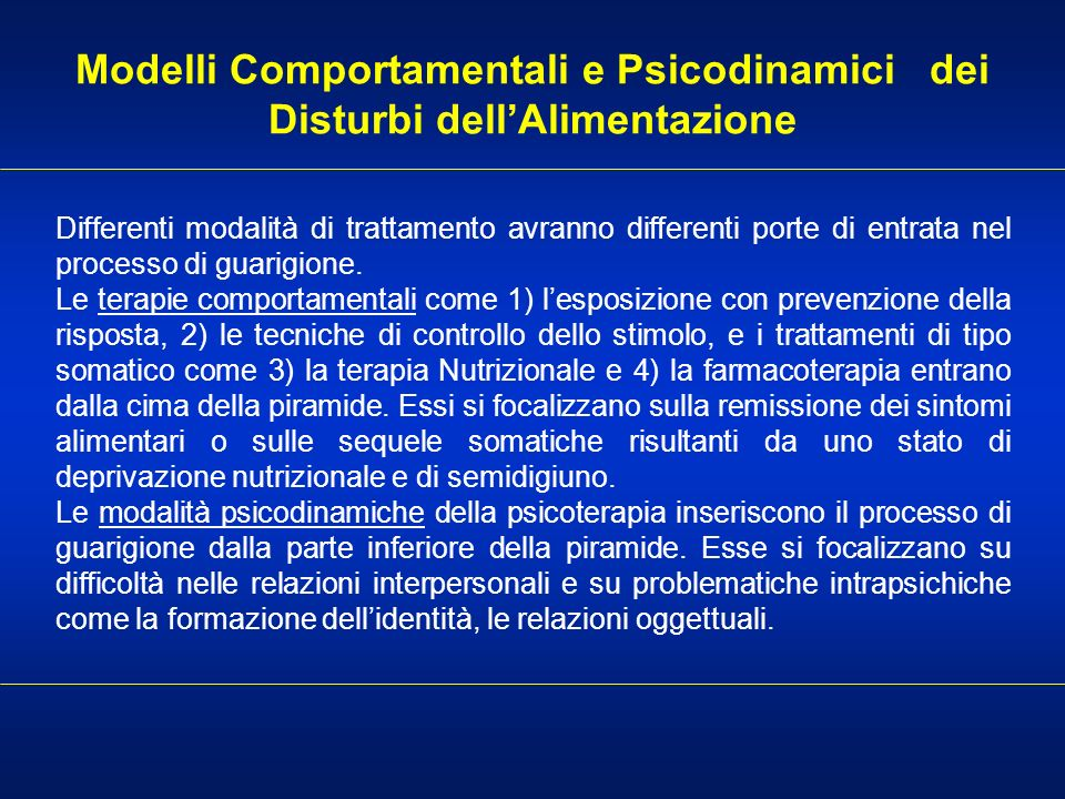 Modelli Comportamentali e Psicodinamici dei Disturbi dell'Alimentazione