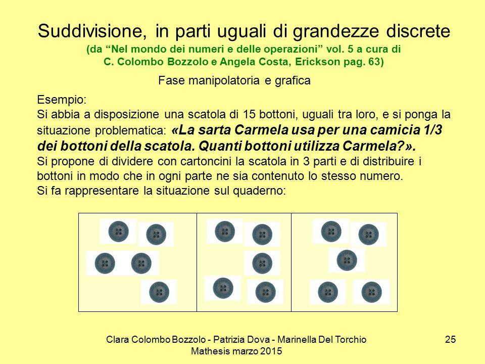 Suddivisione, in parti uguali di grandezze discrete (da Nel mondo dei numeri e delle operazioni vol. 5 a cura di C. Colombo Bozzolo e Angela Costa, Erickson pag. 63)