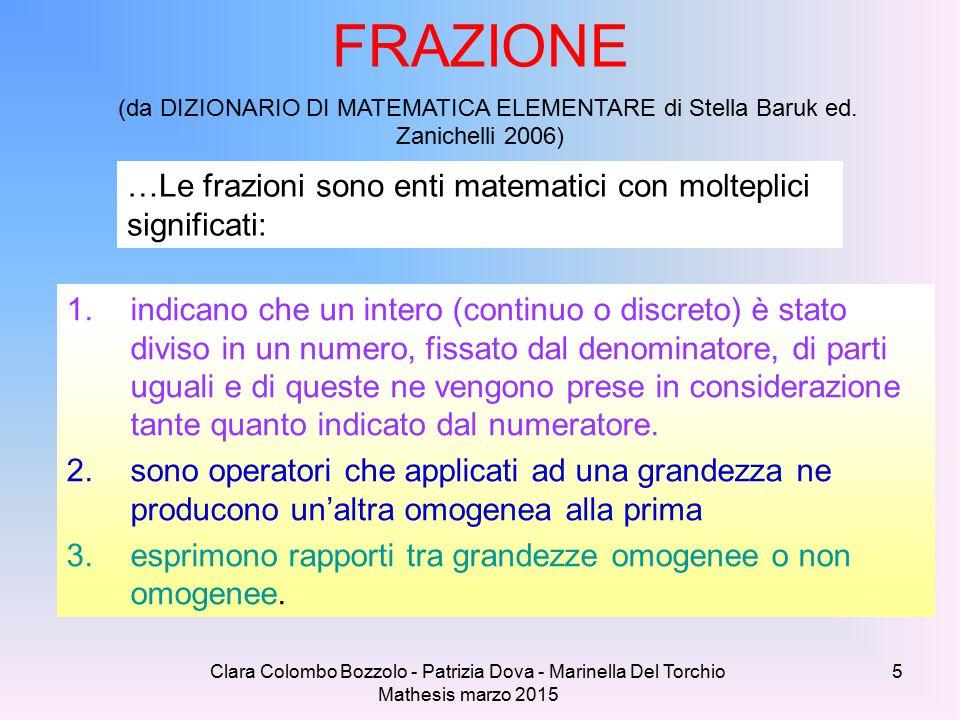 FRAZIONE (da DIZIONARIO DI MATEMATICA ELEMENTARE di Stella Baruk ed