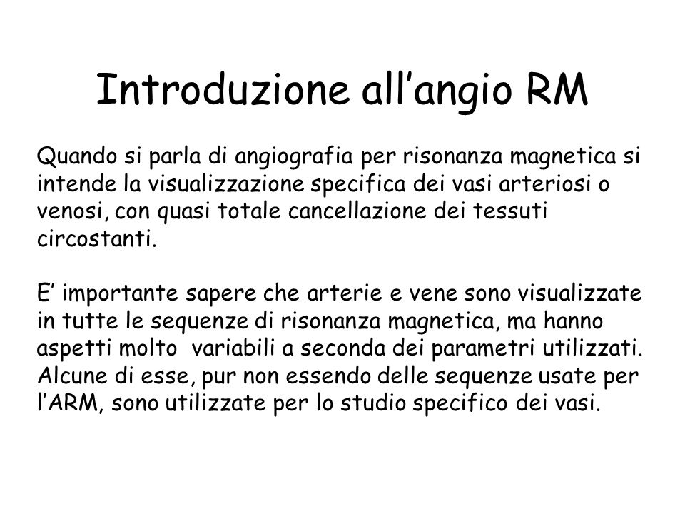 Introduzione all'angio RM