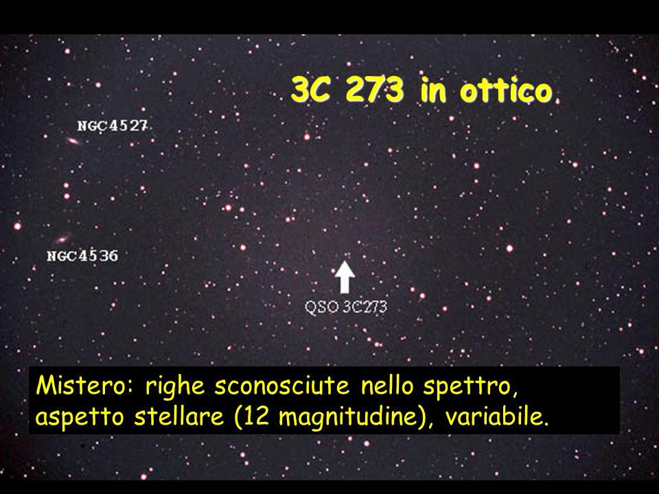 3C 273 in ottico Mistero: righe sconosciute nello spettro, aspetto stellare (12 magnitudine), variabile.