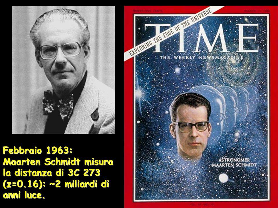 Febbraio 1963: Maarten Schmidt misura la distanza di 3C 273 (z=0