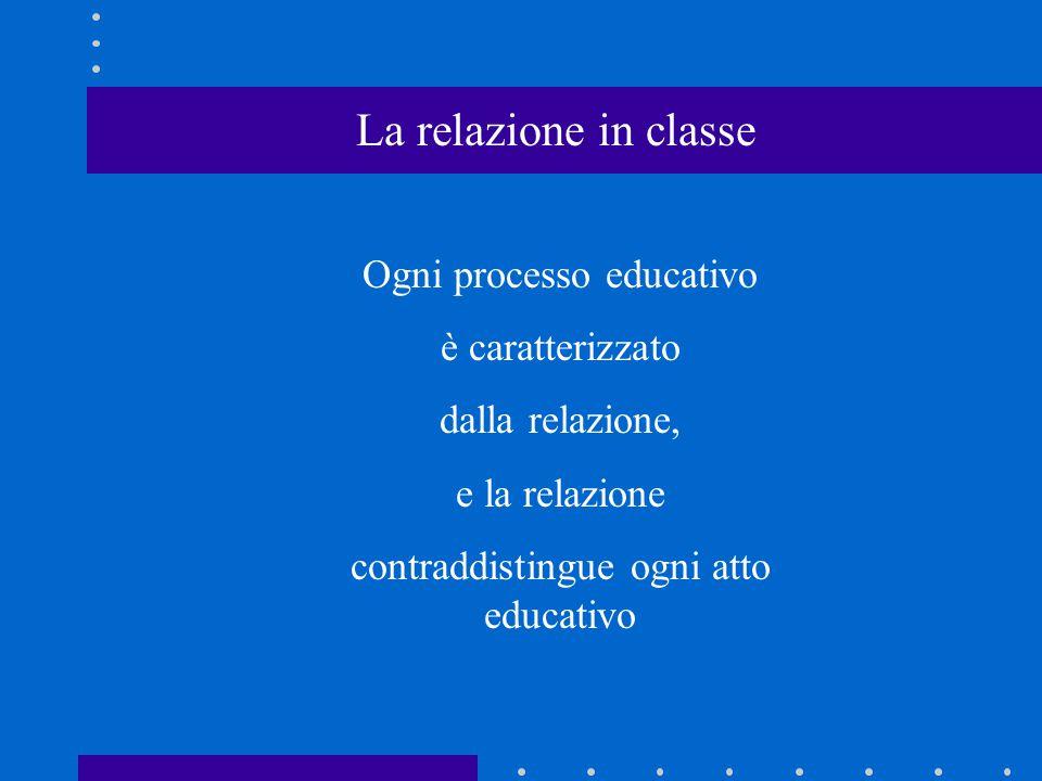 La relazione in classe Ogni processo educativo è caratterizzato