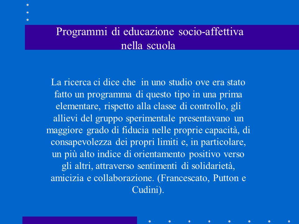Programmi di educazione socio-affettiva nella scuola