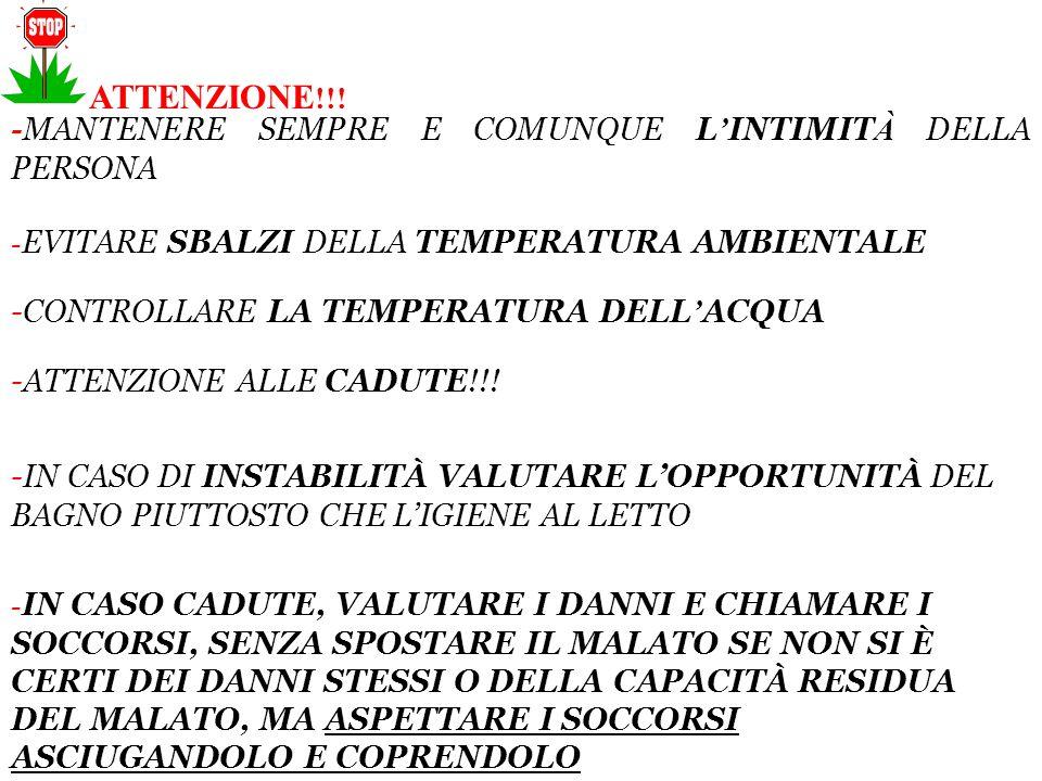 ATTENZIONE!!! -MANTENERE SEMPRE E COMUNQUE L'INTIMITÀ DELLA PERSONA