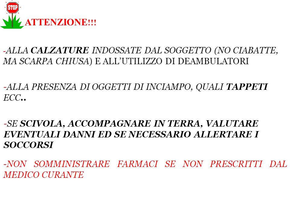 ATTENZIONE!!! -ALLA CALZATURE INDOSSATE DAL SOGGETTO (NO CIABATTE, MA SCARPA CHIUSA) E ALL'UTILIZZO DI DEAMBULATORI.