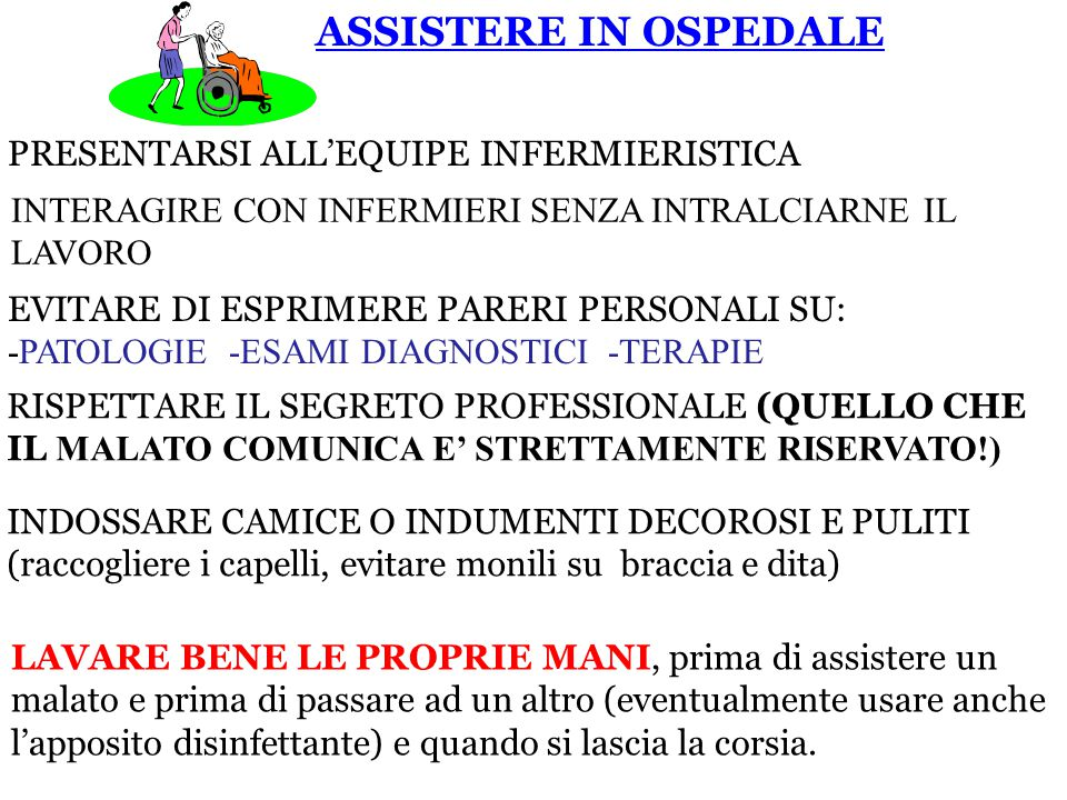 ASSISTERE IN OSPEDALE PRESENTARSI ALL'EQUIPE INFERMIERISTICA