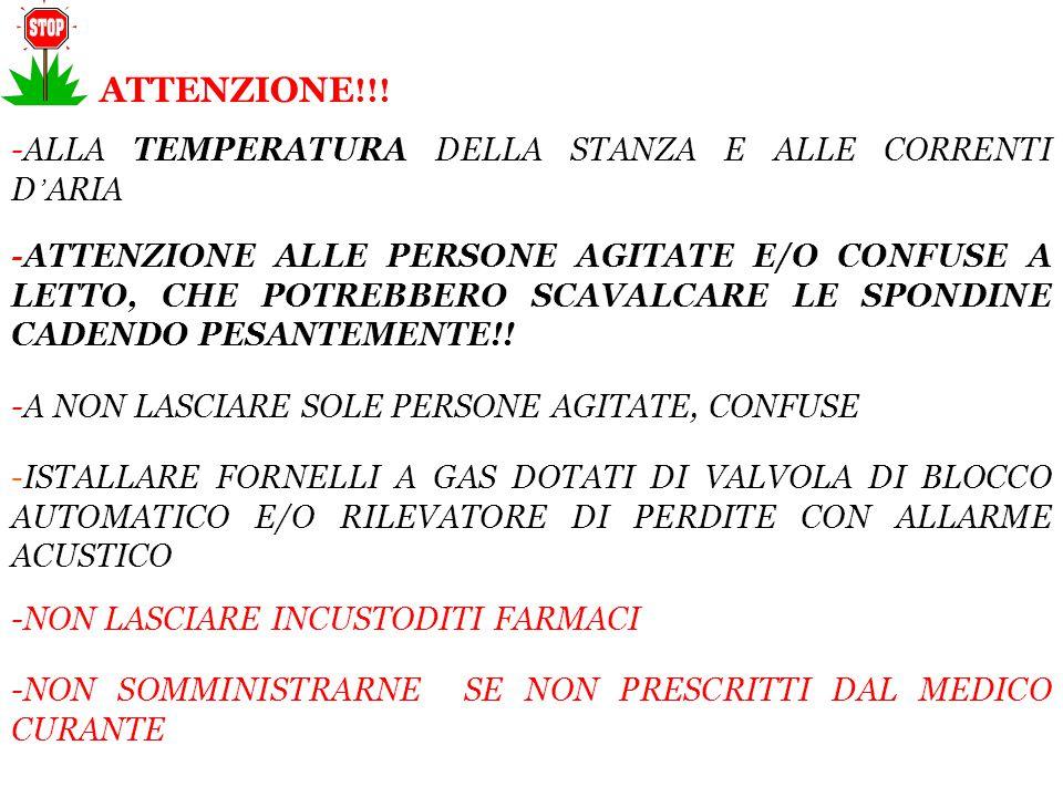 ATTENZIONE!!! -ALLA TEMPERATURA DELLA STANZA E ALLE CORRENTI D'ARIA