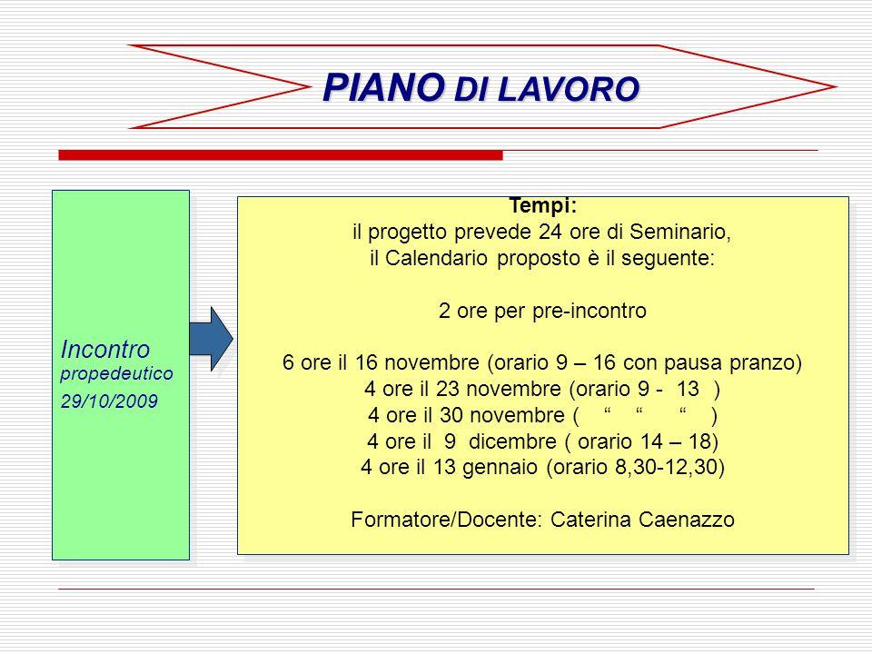 PIANO DI LAVORO Incontro propedeutico Tempi: