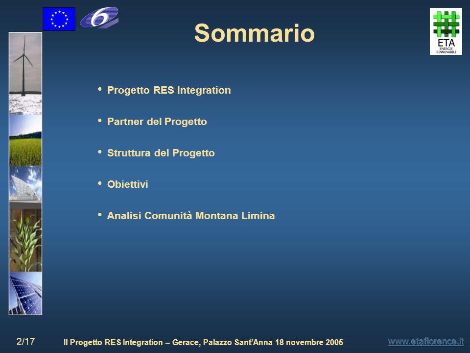 Sommario Progetto RES Integration Partner del Progetto