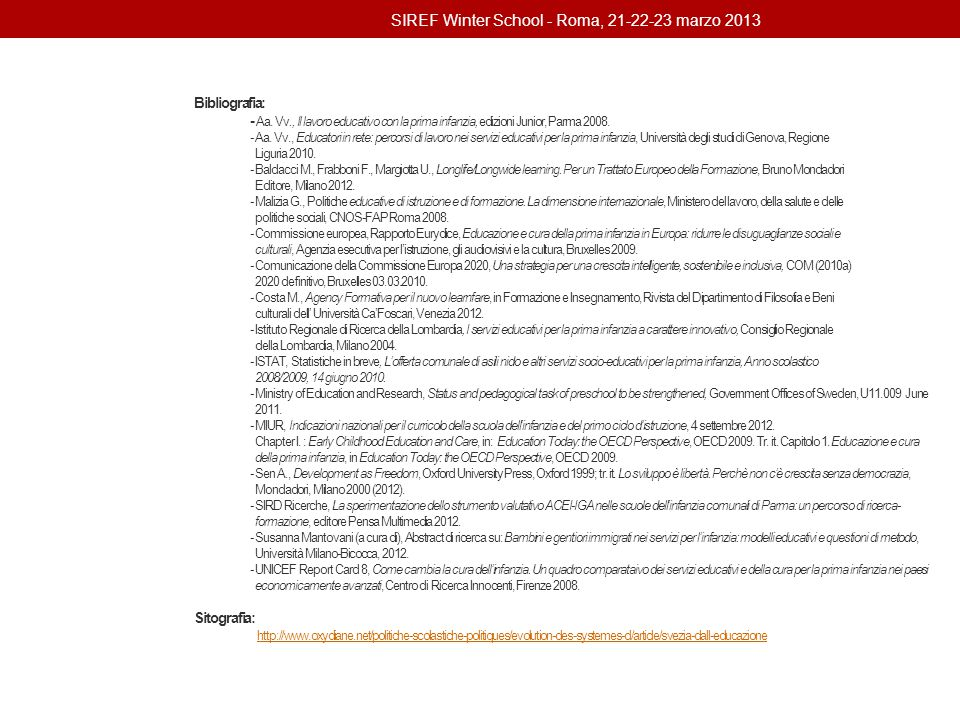 SIREF Winter School - Roma, 21-22-23 marzo 2013