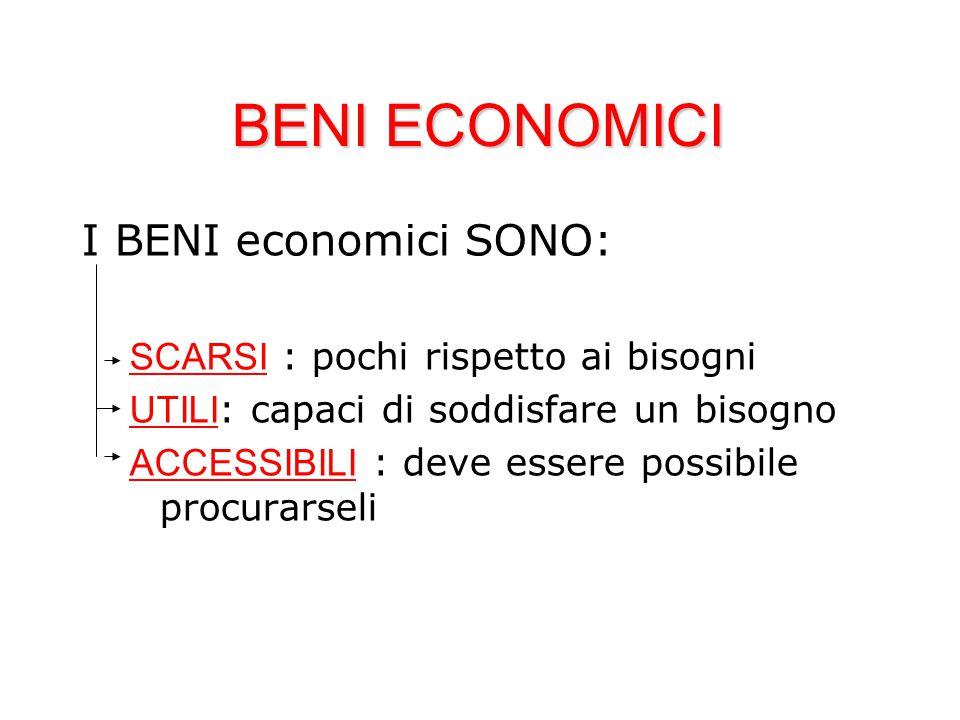 BENI ECONOMICI I BENI economici SONO: