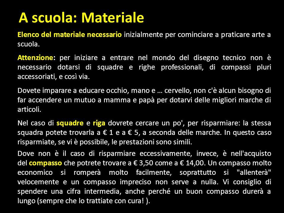 A scuola: Materiale Elenco del materiale necessario inizialmente per cominciare a praticare arte a scuola.