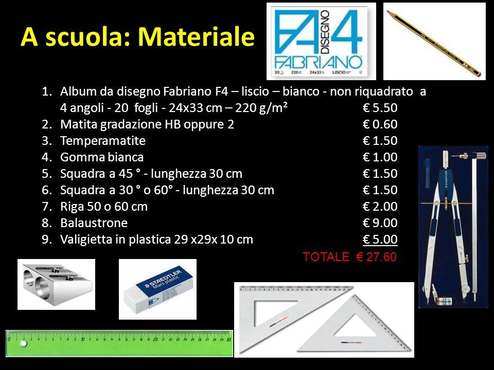 A scuola: Materiale Album da disegno Fabriano F4 – liscio – bianco - non riquadrato a 4 angoli - 20 fogli - 24x33 cm – 220 g/m² € 5.50.