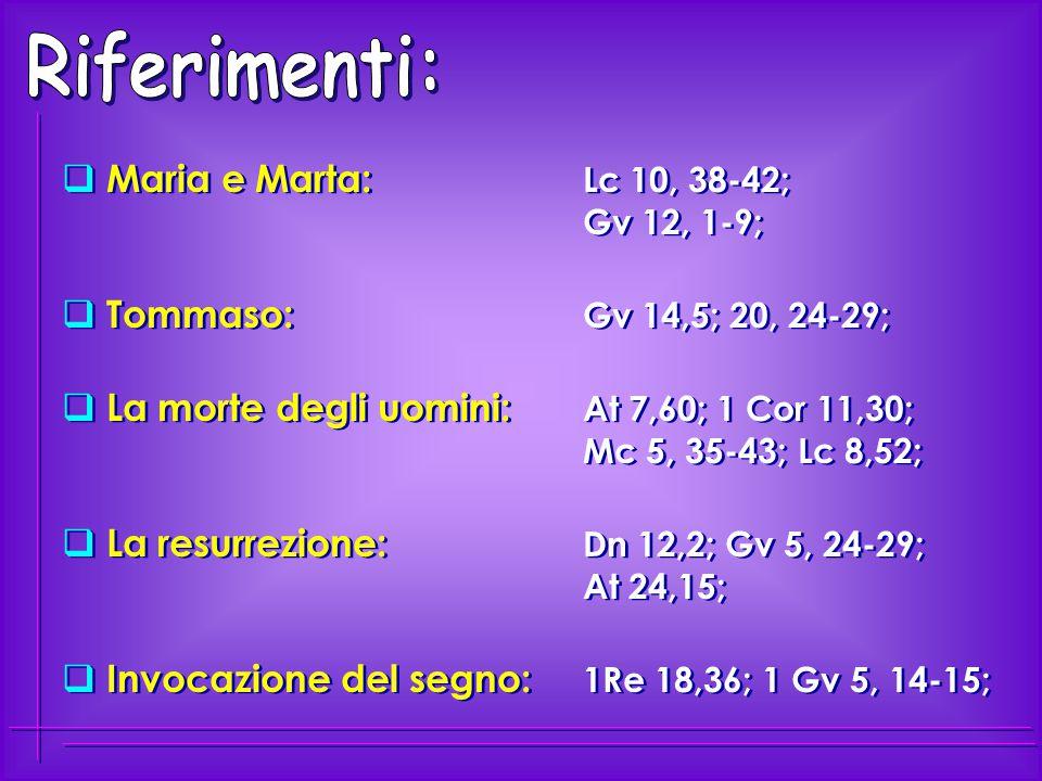 Riferimenti: Maria e Marta: Lc 10, 38-42; Gv 12, 1-9;