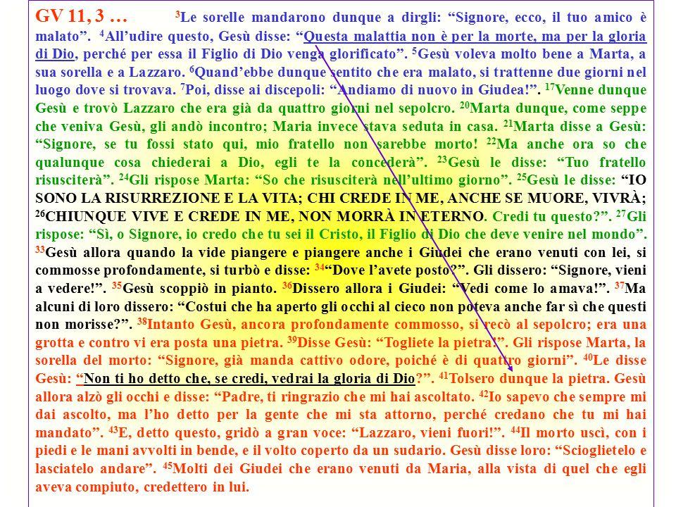 GV 11, 3 … 3Le sorelle mandarono dunque a dirgli: Signore, ecco, il tuo amico è malato .