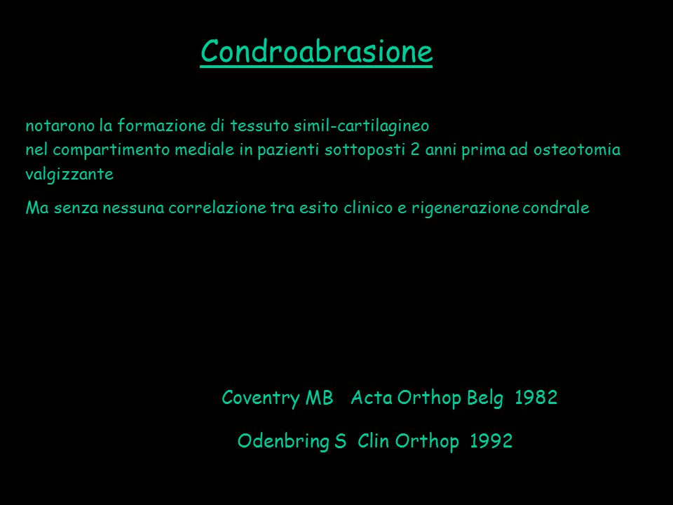 Condroabrasione Coventry MB Acta Orthop Belg 1982