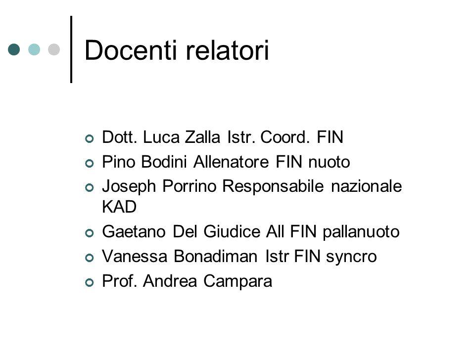 Docenti relatori Dott. Luca Zalla Istr. Coord. FIN