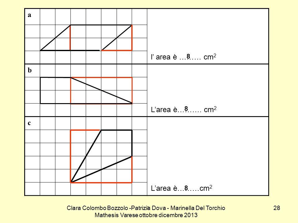 a l' area è ……… cm2. b. L'area è………. cm2. c. L'area è………cm2. 8. 8. 8.