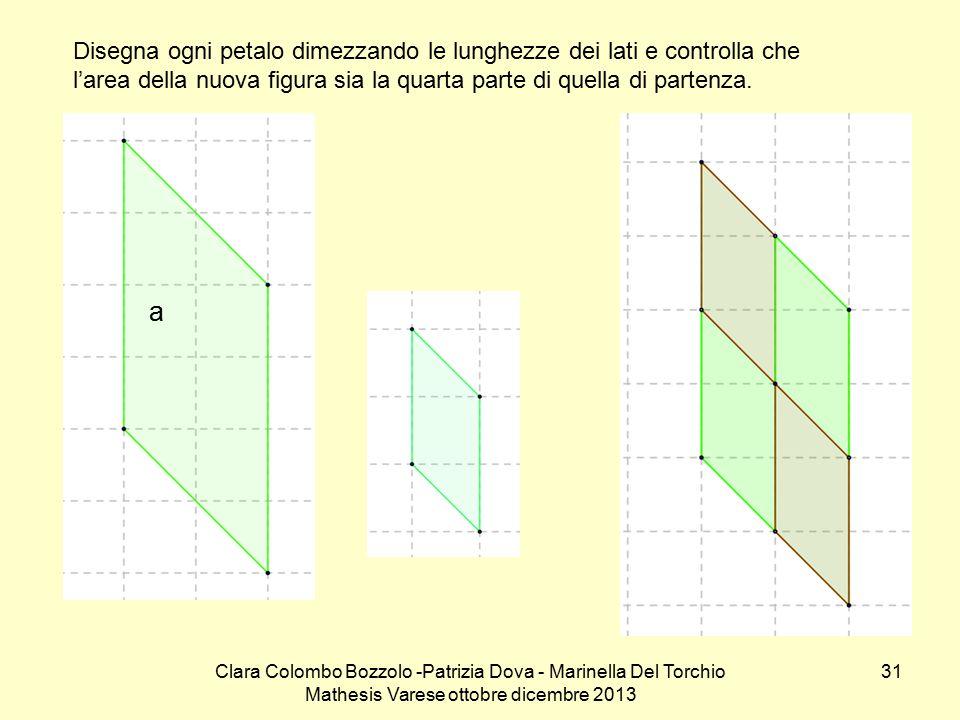 Disegna ogni petalo dimezzando le lunghezze dei lati e controlla che l'area della nuova figura sia la quarta parte di quella di partenza.