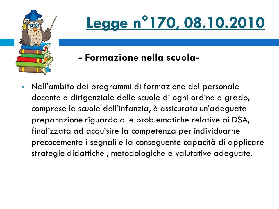 Legge n°170, 08.10.2010 - Formazione nella scuola-