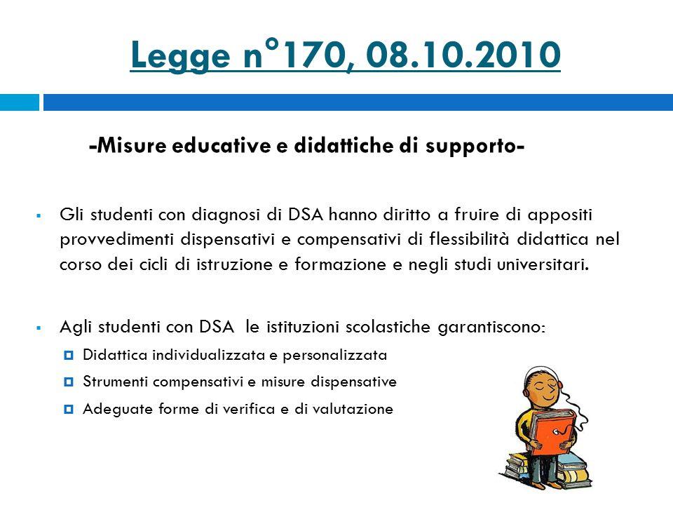 Legge n°170, 08.10.2010 -Misure educative e didattiche di supporto-