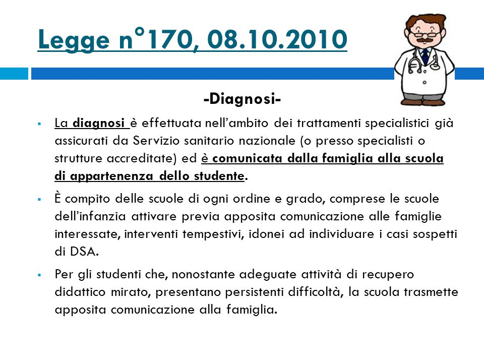Legge n°170, 08.10.2010 -Diagnosi-