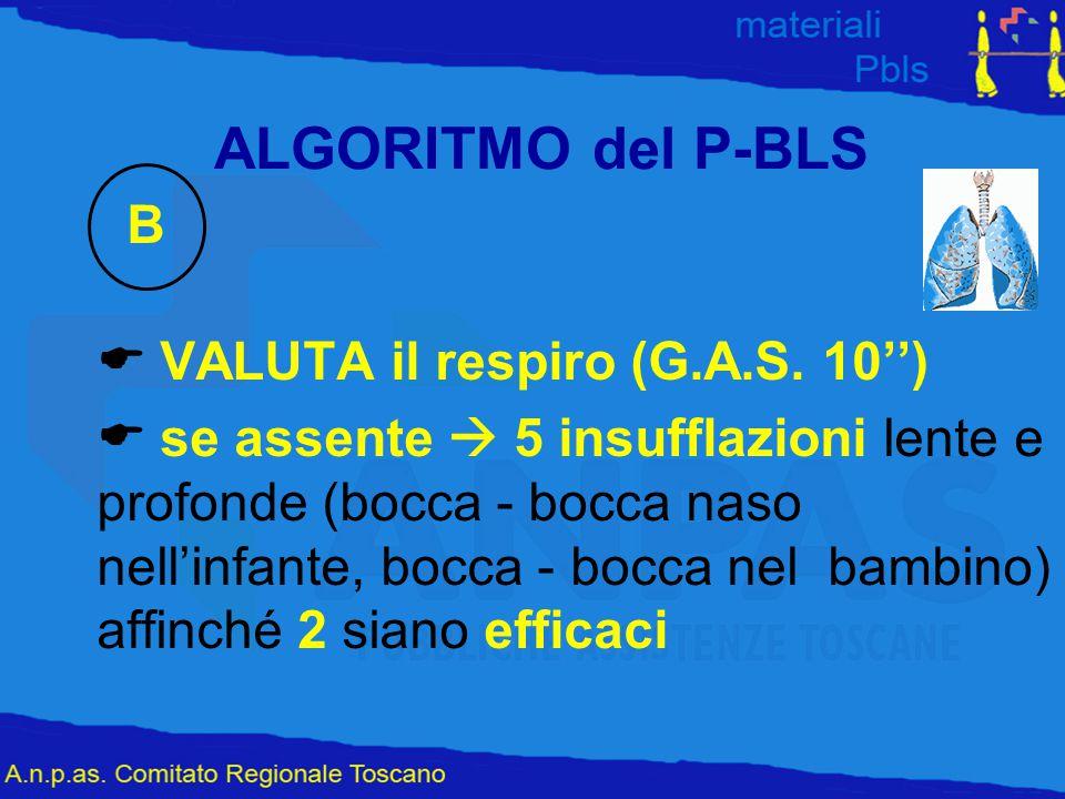 ALGORITMO del P-BLS B. E VALUTA il respiro (G.A.S. 10'')