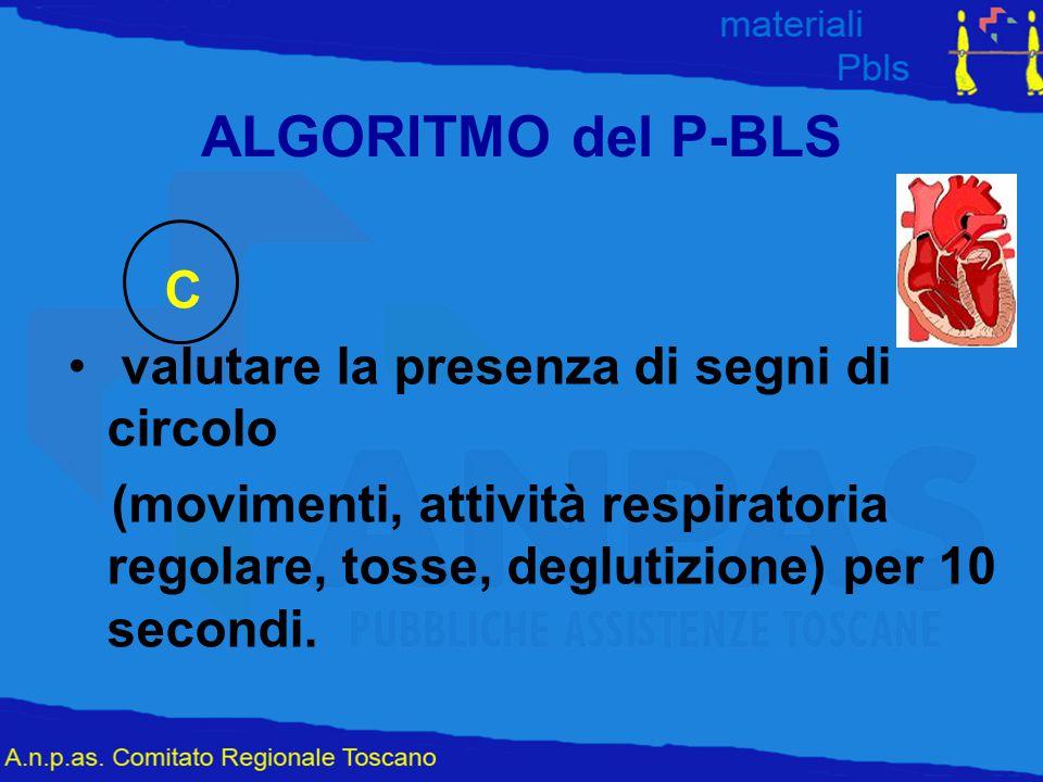 ALGORITMO del P-BLS C valutare la presenza di segni di circolo