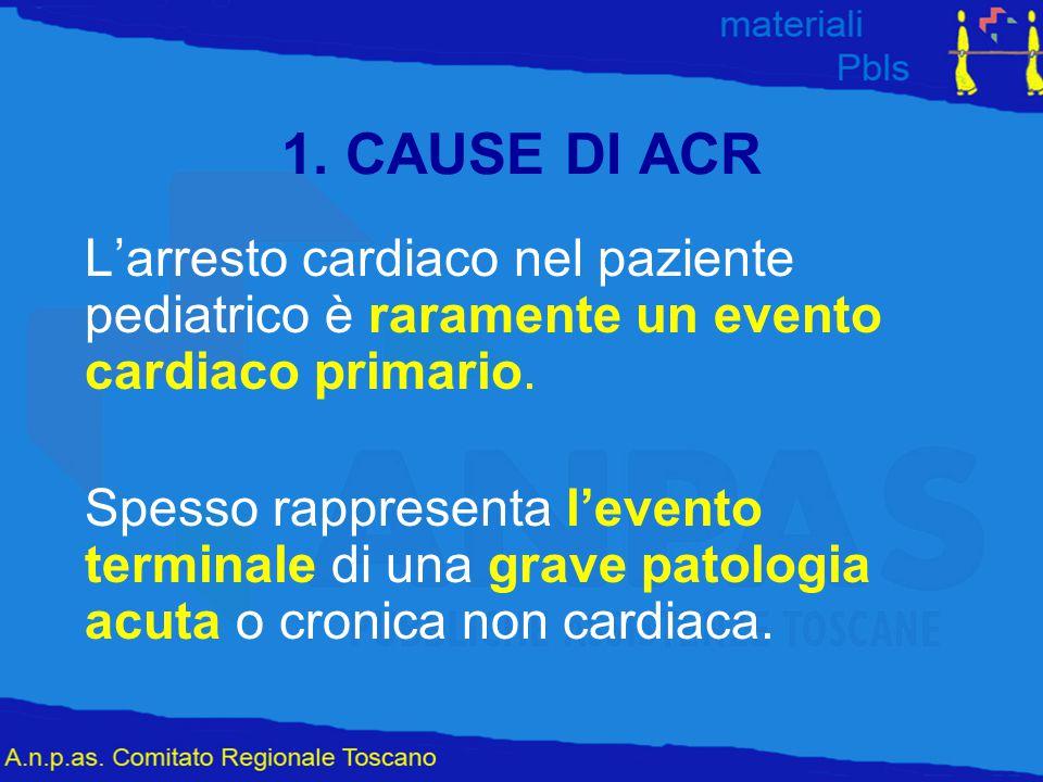 1. CAUSE DI ACR L'arresto cardiaco nel paziente pediatrico è raramente un evento cardiaco primario.