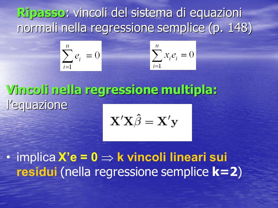 Ripasso: vincoli del sistema di equazioni normali nella regressione semplice (p. 148)