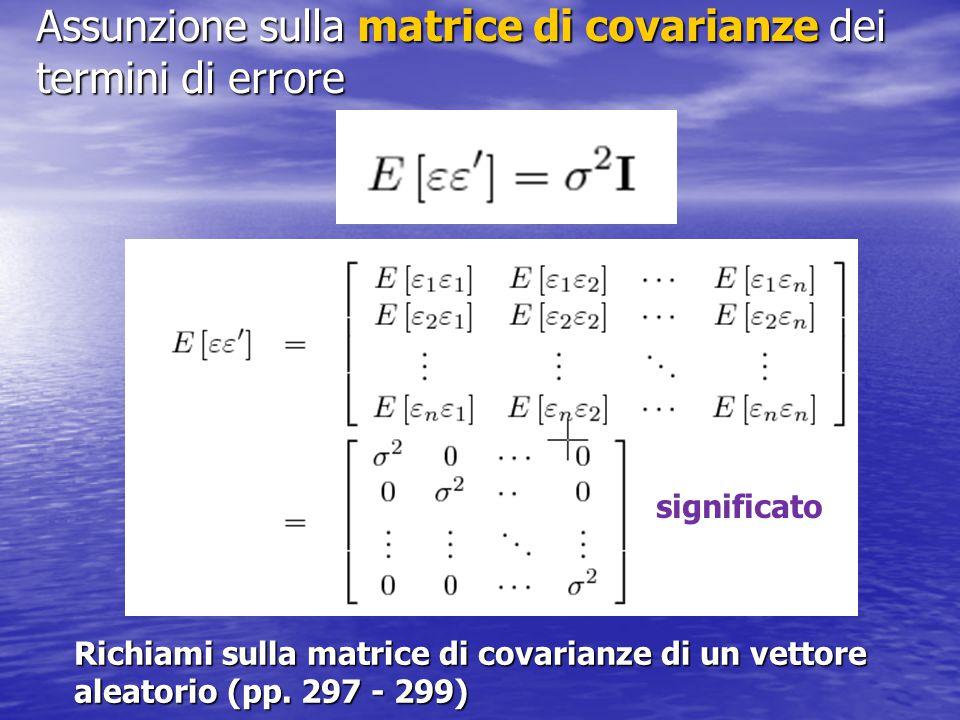 Assunzione sulla matrice di covarianze dei termini di errore