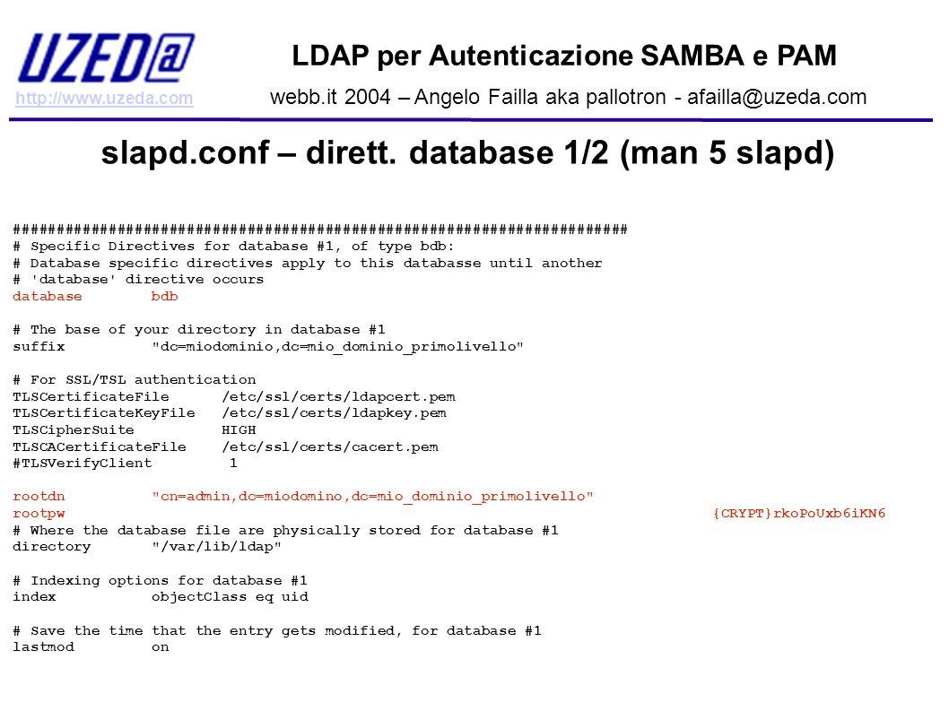 slapd.conf – dirett. database 1/2 (man 5 slapd)