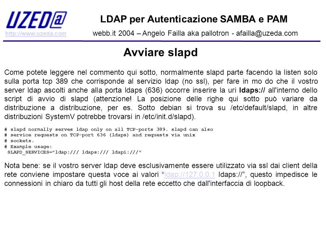 Avviare slapd LDAP per Autenticazione SAMBA e PAM