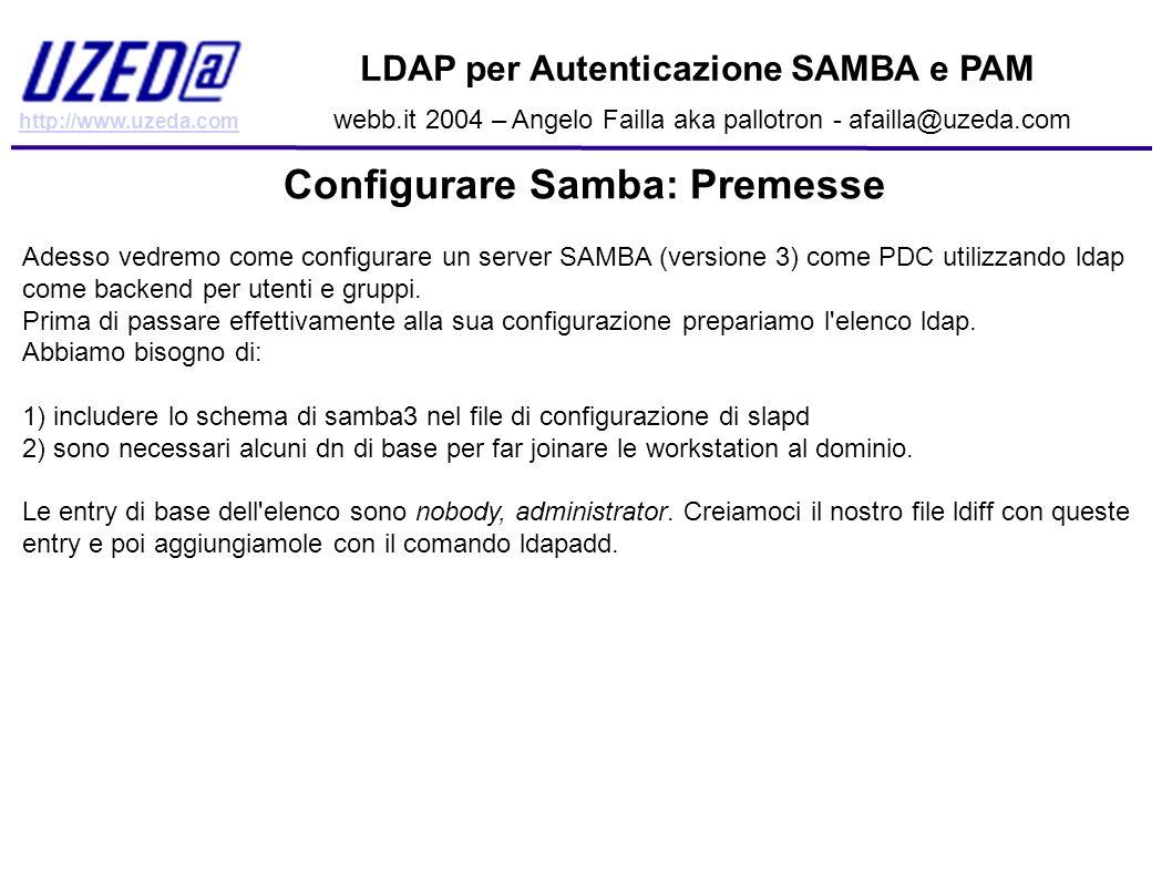 Configurare Samba: Premesse
