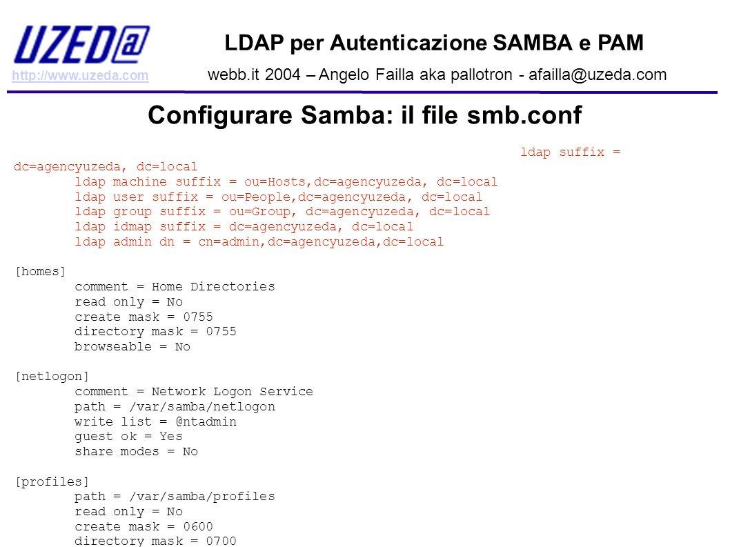 Configurare Samba: il file smb.conf