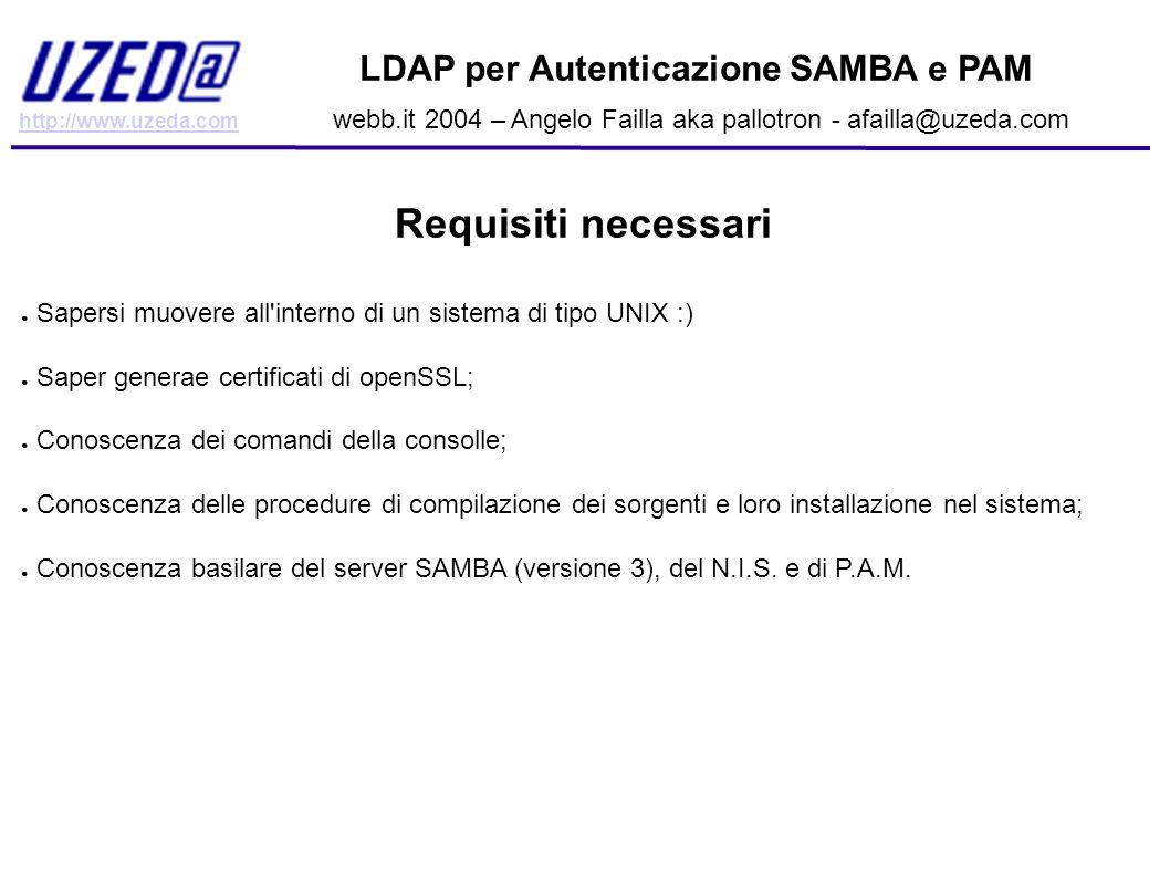 Requisiti necessari LDAP per Autenticazione SAMBA e PAM