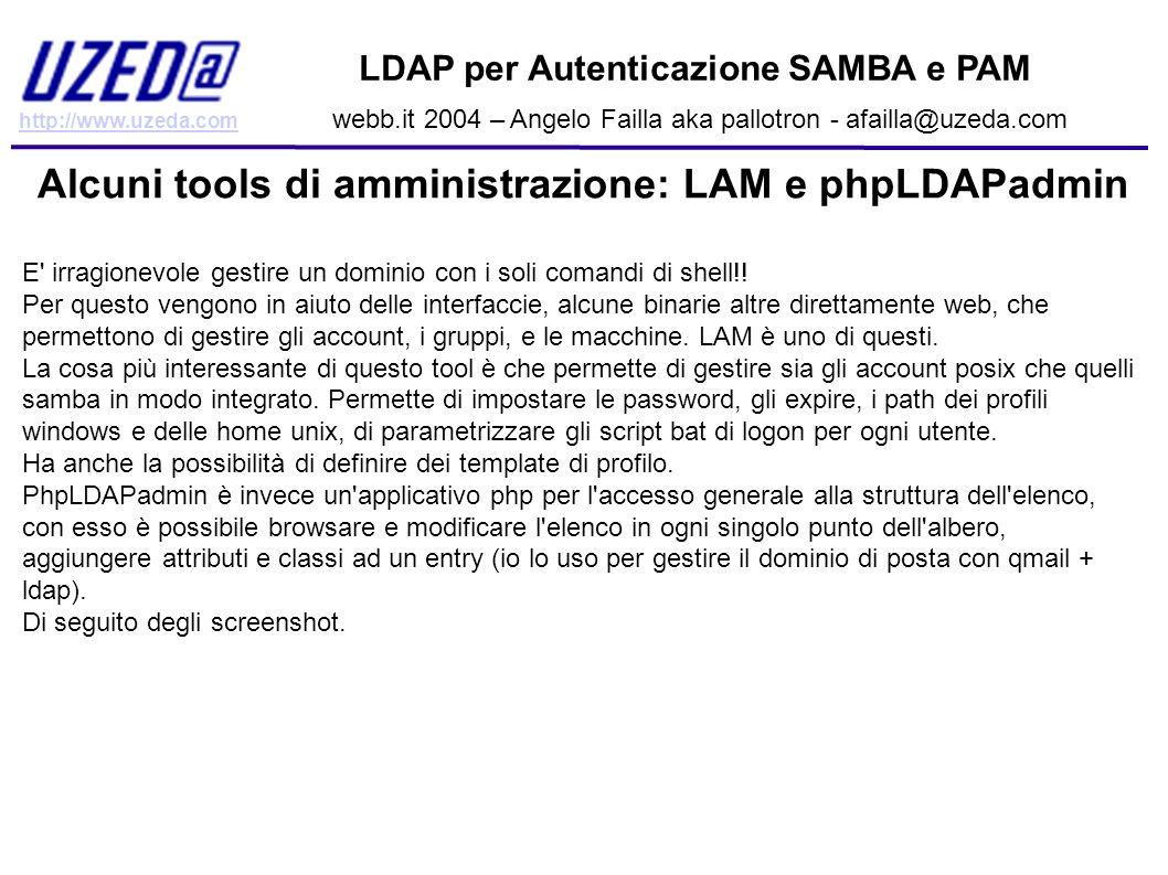 Alcuni tools di amministrazione: LAM e phpLDAPadmin