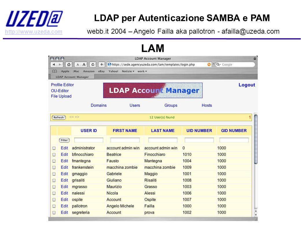 LAM LDAP per Autenticazione SAMBA e PAM