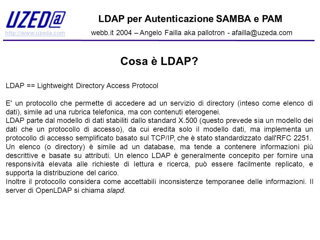 Cosa è LDAP LDAP per Autenticazione SAMBA e PAM