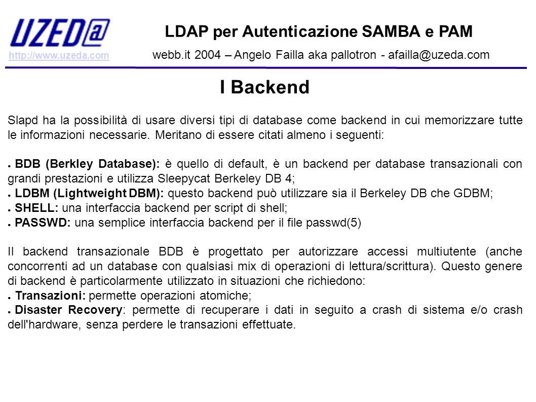 I Backend LDAP per Autenticazione SAMBA e PAM
