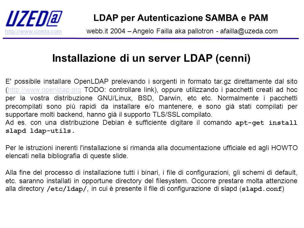 Installazione di un server LDAP (cenni)