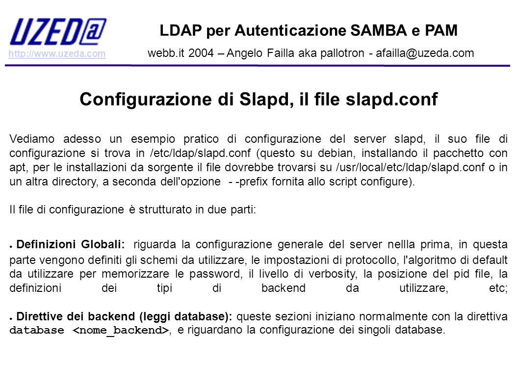 Configurazione di Slapd, il file slapd.conf