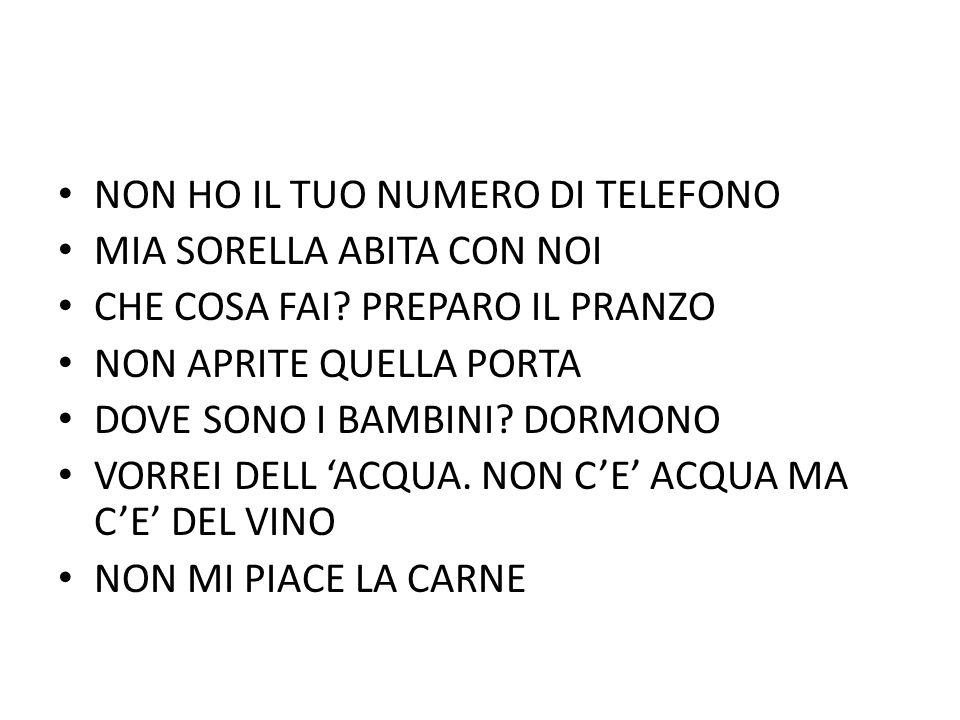 NON HO IL TUO NUMERO DI TELEFONO