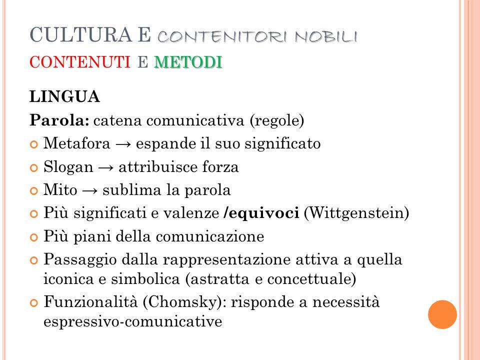 CULTURA E CONTENITORI NOBILI contenuti e metodi