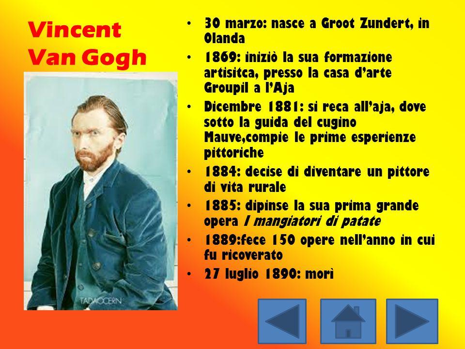 Vincent Van Gogh 30 marzo: nasce a Groot Zundert, in Olanda