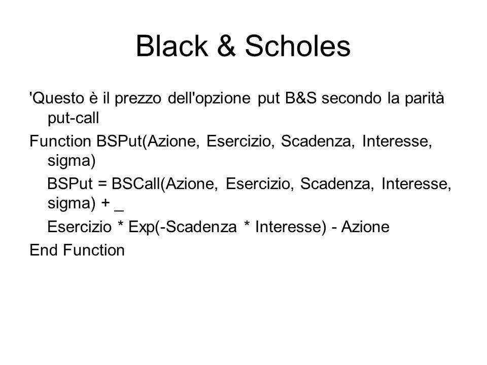 Black & Scholes Questo è il prezzo dell opzione put B&S secondo la parità put-call. Function BSPut(Azione, Esercizio, Scadenza, Interesse, sigma)