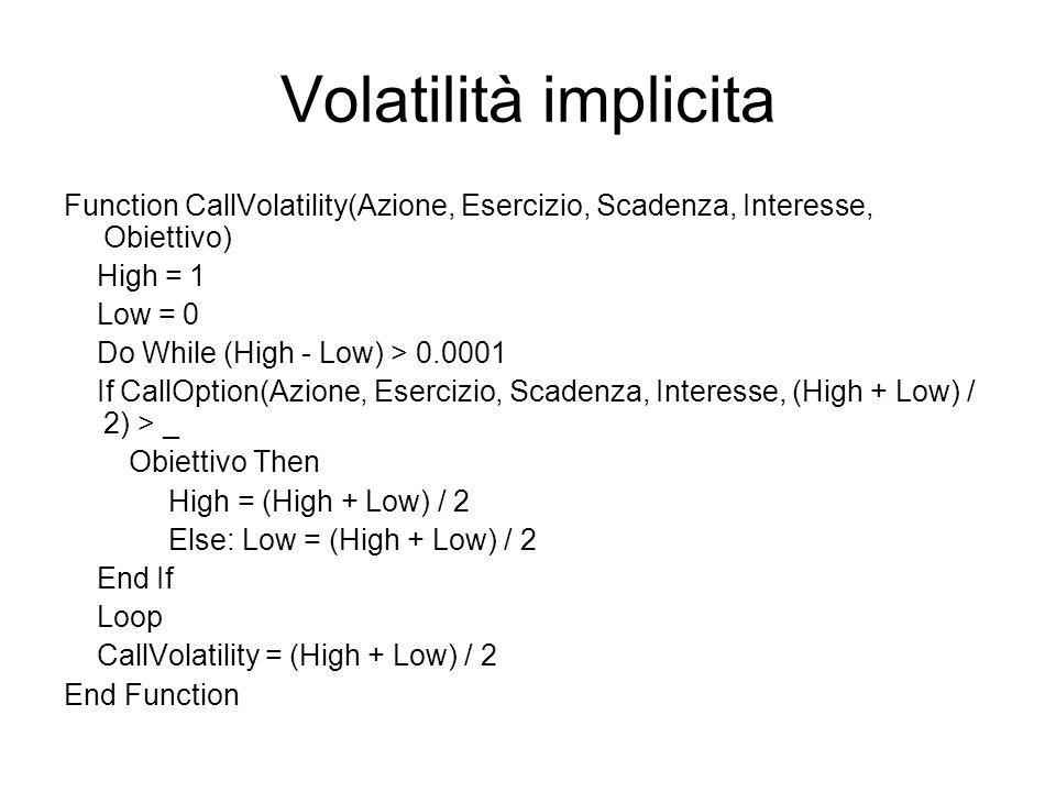 Volatilità implicita Function CallVolatility(Azione, Esercizio, Scadenza, Interesse, Obiettivo) High = 1.