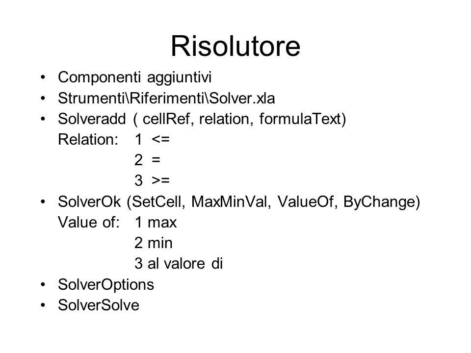 Risolutore Componenti aggiuntivi Strumenti\Riferimenti\Solver.xla